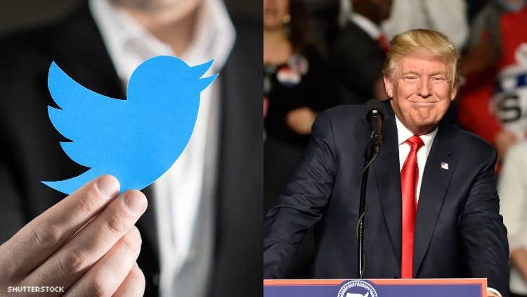 Donald Trump and the Twitter logo.