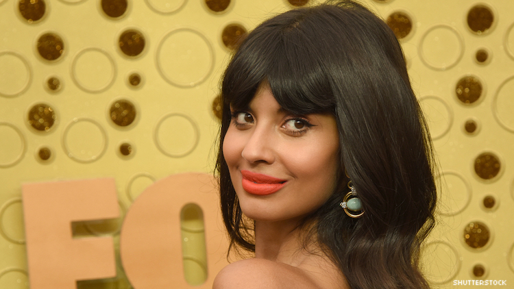 Jameela Jamil on a red carpet