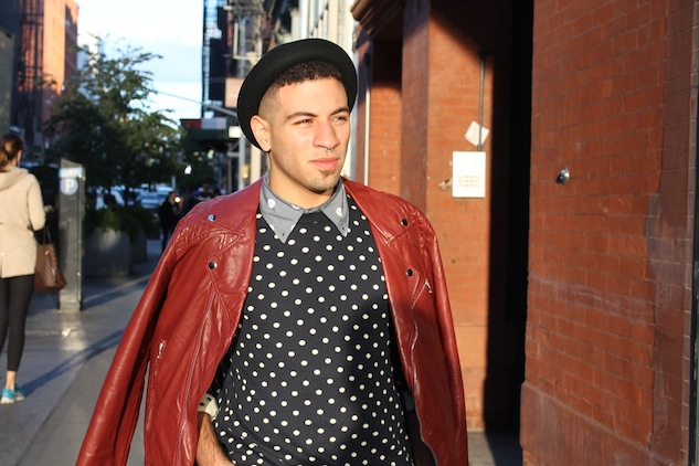 Fall Street Style Red Leather Jacket Andrew Villagomez 3