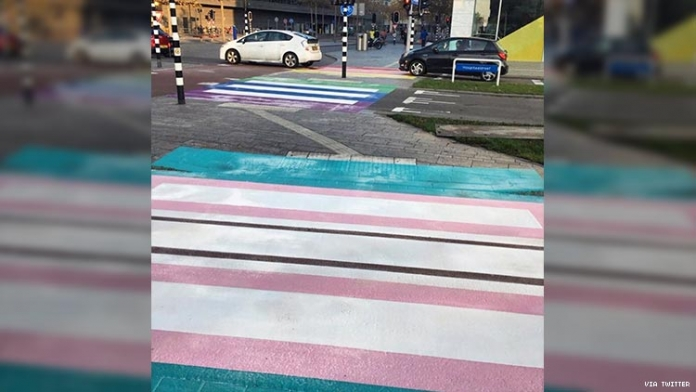 Europe's First Permanent Trans Pride Crosswalk Has Been Unveiled