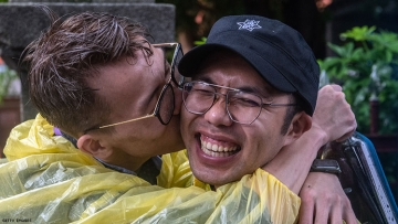 People in Taiwan celebrate same-sex marriage ruling on Friday