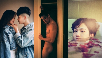 A triptych of images featuring queer people from Taipei.