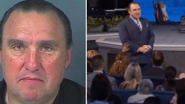 Pastor Rodney Howard-Browne ministers to his River Church congregation (from video)