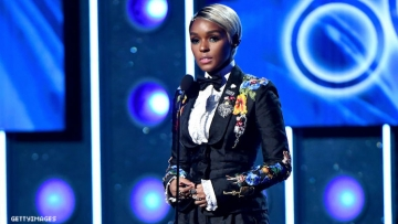 Janelle Monáe on stage at the Grammys.