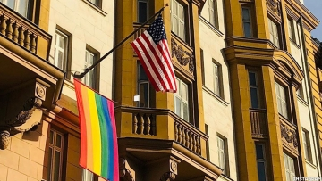 The U.S. embassy in Moscow, Russia, is flying a rainbow flag outside its doors as Russians vote on a series of constitutional amendments, including one that will ban marriage equality.