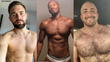 A triptych of shirtless guys.