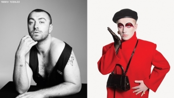 Sam Smith in two photos for a photoshoot.