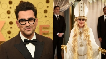 Dan Levy and Moira Rose's wedding look from Schitts Creek