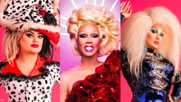 RuPaul, Baga Chipz and The Vivienne from Drag Race U.K.
