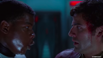 Still from Star Wars featuring Finn and Poe