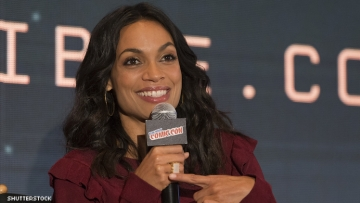 Rosario Dawson on a panel at ComicCon