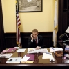 Mayor Morse working in his city hall office