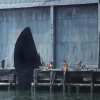 """Shelley Seccombe  """"Sunbathing on the Edge, Pier 52,"""" 1977."""