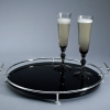 Sabrina Black Glass Tray With Champagne Flute in Smoke Crystal