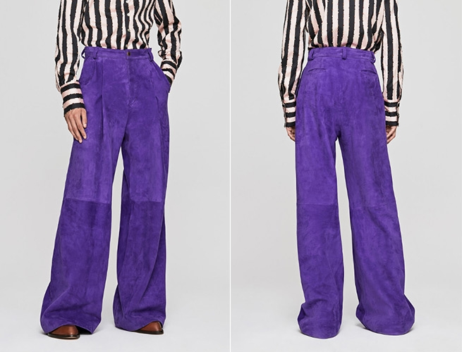 Purple Suede Palazzo Trousers around $1700