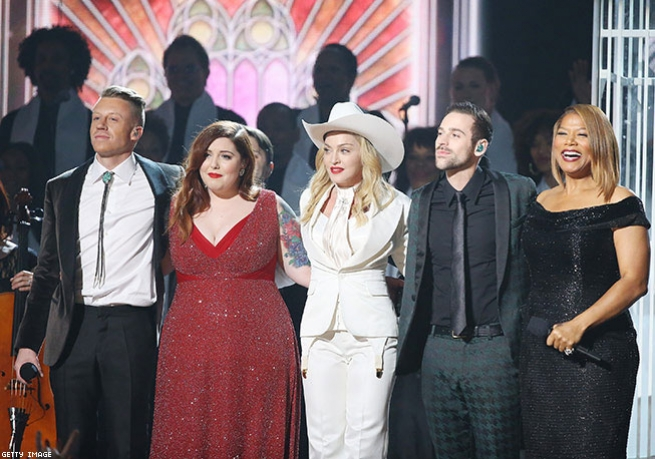 """7. Queen Latifah Marries 33 Couples as Madonna and Macklemore Perform """"Same Love"""" (2014)"""