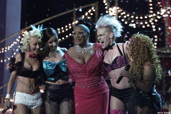 """8. Pink, Christina Aguilera, Mya, and Lil' Kim Perform """"Lady Marmalade"""" With Patti LaBelle (2002)"""