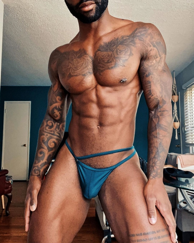 Kevin Carnell in small underwear.