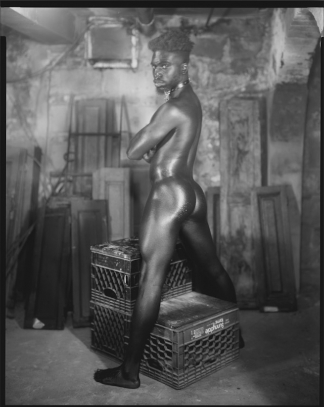 A nude, Black model oiled, and posing from behind.