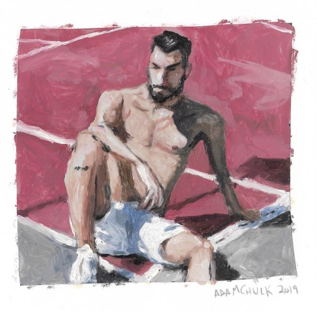 A sketch of a shirtless guy sitting on a tennis court.