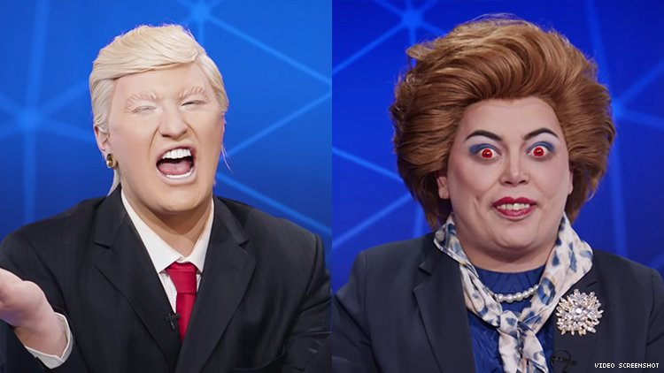 A diptych of The Vivienne as Donald Trump and Baga Chipz as Margaret Thatcher.