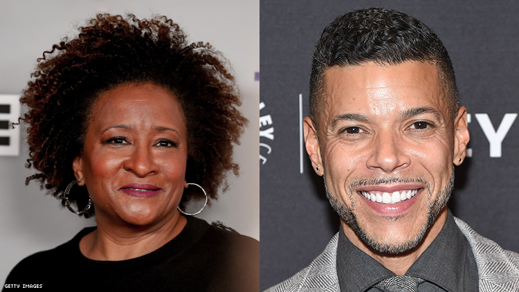 Wanda Sykes and Wilson Cruz in a diptych.