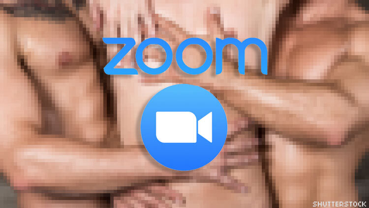 Zoom logo over naked bodies.